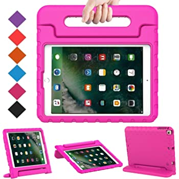 BMOUO Case for iPad 9.7 Inch 2018/2017/iPad Air 2/iPad Air - Shockproof Case Light Weight Kids Case Cover Handle Stand Case for iPad 9.7 Inch 2017/2018 (iPad 5th and 6th Generation)/iPad Air 2- Rose