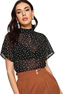 Women's Mesh Sheer Mock Neck Polka Dot See Through Short Sleeve Blouse Tops