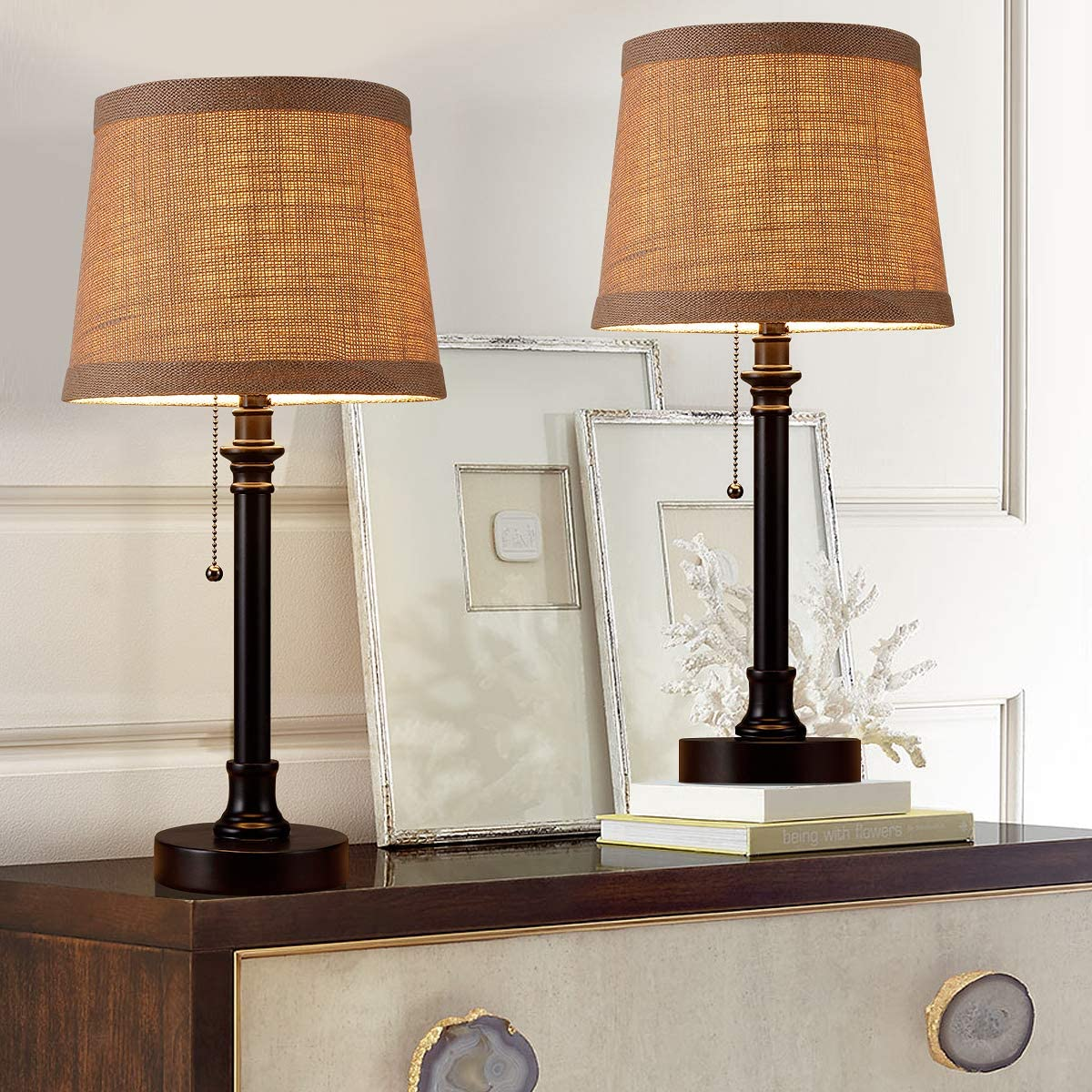 Oneach Recommended Maria Rustic Table Lamp Set 2 Desk mart Bedside of Readin