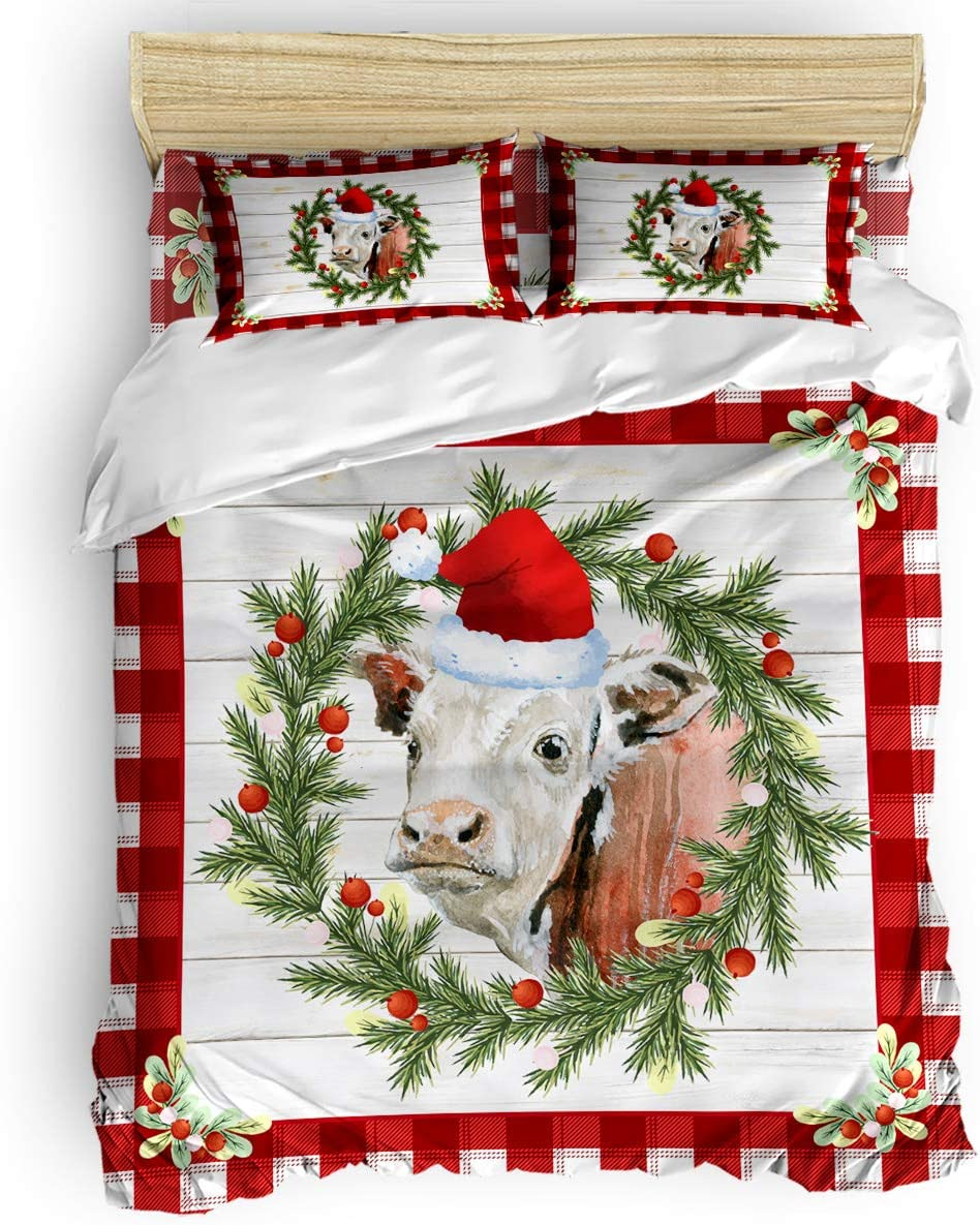 Outlet ☆ Free Shipping 4pcs Duvet Cover Set Twin Size - Grain and Wreath Re on Under blast sales Wood Cow