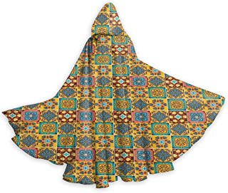 Adult Hooded Halloween Cloak Costumes Party Cape,Floral Ethnic Tile Mosaic Style Azulejo Portuguese Moroccan Cultural Motif