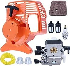 Adefol C1Q-S97 Carburetor and Recoil Pull Starter Kit with [ Fuel Line+ Air Filter+ Primer Bulb+ Fuel Filter+ Spark Plug ] for STIHL String Trimmer Weed Eater FS38 FS45 FS46 FS55 KM55 HL45 FS45L FS45C