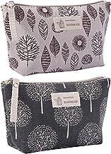 2 Stück Kosmetiktasche aus Segeltuch, Multifunktions Reise Kosmetiktasche, Bedruckte Make-up-Taschen mit Reißverschluss, für Kosmetik-Schlüsselanhänger Münzen Geldkarten Blatt, Bäume