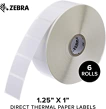 Zebra - 1.25 x 1 in Direct Thermal Paper Labels, Z-Perform 2000D Permanent Adhesive Shipping Labels, Zebra Desktop Printer Compatible, 1 in Core - 6 Rolls