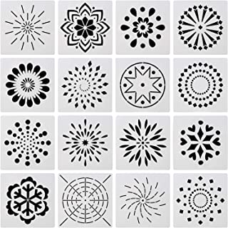 OOTSR 16pcs Mandala Stencils Template Set, Hollow Plastic Painting Template for Painting on Wood, Rock, Stone, Fabric, Airbrush and Walls Art (5.12 inches)
