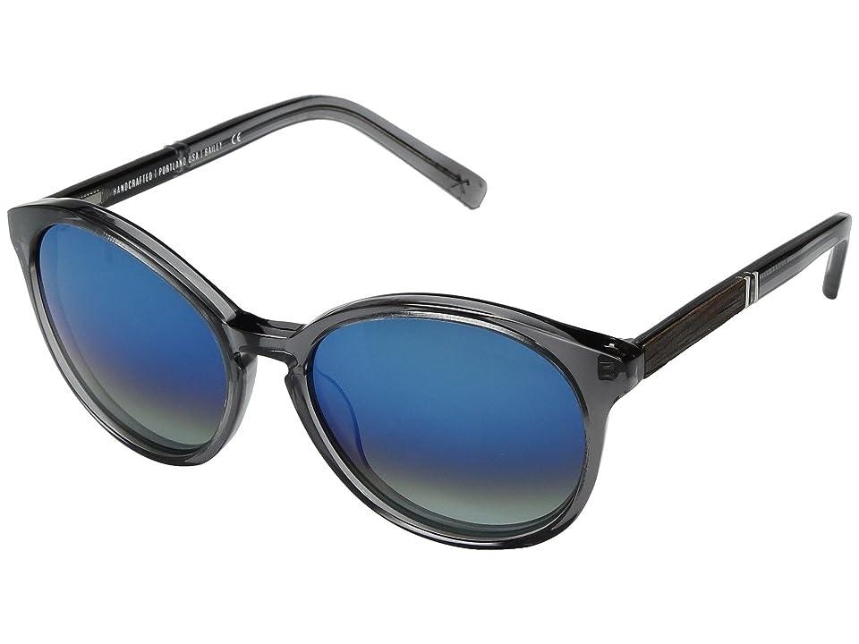 Shwood Bailey Acetate Wood Polarized (Smoke/Ebony/Blue Flash Polarized) Polarized Sport Sunglasses