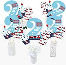 2nd Birthday Railroad Party Crossing - Steam Train Second Birthday Party Centerpiece Sticks - Table Toppers - Set of 15