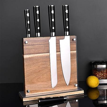 TWBEST Bloc à Couteaux magnétique,Bloc de Couteau Double côté Bois PorteCouteau magnétique avec Protection en Acrylique capacité Couteaux Marron Comptoir Cuisine Ustensile Titulaire Cuisine
