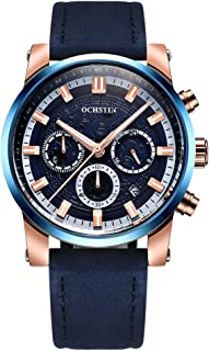OCHSTIN Business Men Watch Leather Strap Quartz Sport Wristwatch Calendar Fashion Casual Male Luminous Watches