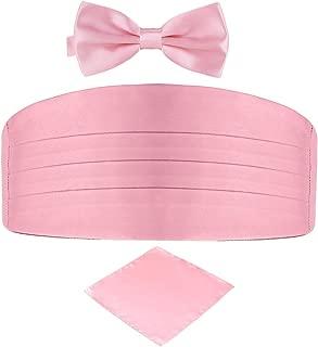 Men's Satin Belt Cummerbund Bow Tie Pocket Square Handkerchief Hanky Set Tuxedo Party
