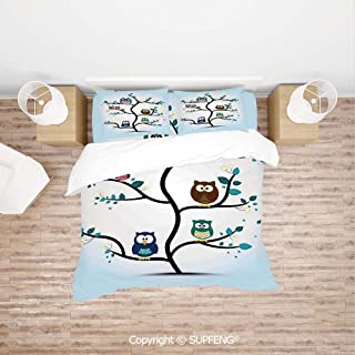 SCOXIXI Bed Cover Set Owl Family Perched on a Tree Love Grace Nocturnal Eyed Night Animals in The Nature Print (Comforter Not Included) Soft, Breathable, Hypoallergenic, Fade Resistant