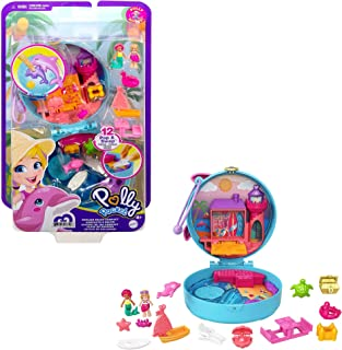 Polly Pocket Dolphin Beach Compact, Beach-Adventure Theme with Micro Polly & Mermaid Doll, 5 Reveals & 13 Accessories, Pop...
