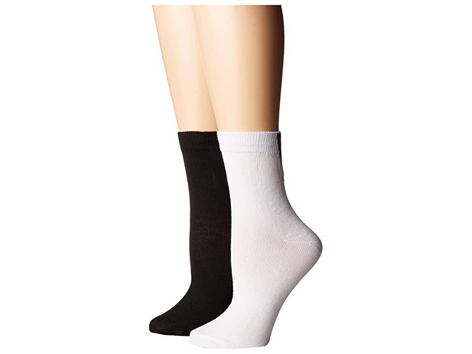 Steve Madden 2-Pack Have A Nice Day (White/Black) Women's Crew Cut Socks Shoes