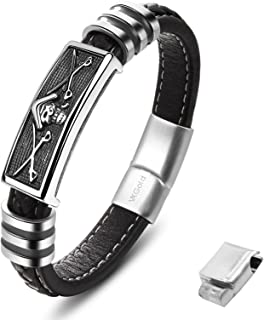 Fashion Men Bracelet Braided Leather Multilayer with Stainless Steel Magnetic Clasp in three size Quality leather bracelet for men and women