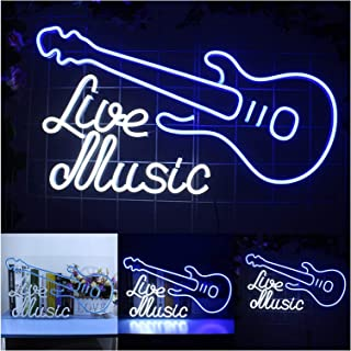Live Music Guitar Neon Lights Sign, Personalized Custom Flex Led Neon Signs Acrylic Studio Office Wall Hanging Home Décor...