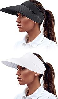 2 Pieces Sun Visor Hats Wide Brim Visor Hats Adjustable Large Brim Summer Beach Caps for Women