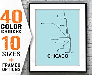 Pulling Chicago Subway Map Poster Art Print Modern Line Drawing Item T2068