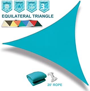 Coarbor 16' x 16' x 16' Triangle Turquoise Green UV Block Sun Shade Sail Perfect for Patio Outdoor Garden