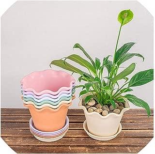 Big Plastic Plant Flower Pots with Pot Trays Garden Nursery Pots Flowerpot Succulent Plants for Bedroom Living Room Office,Blue S