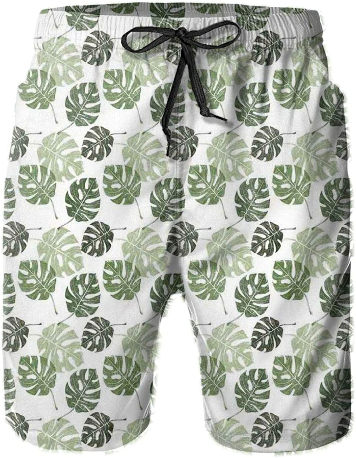 Tropical Jungle Foliage Hawaiian Nature Growth Sketchy Leaves Environment Eco Swimming Trunks for Men Beach Shorts Casual Style,XL
