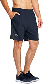 Men's 7 Inches Athletic Running Shorts Quick Dry Mesh Liner Zip Pocket