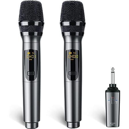 Microphone sans fil rechargeable, LEKATO Double microphones rechargeables Ensemble de micro karaoké sans fil UHF pour la réunion de chant de karaoké DJ Discours Église Fête de mariage
