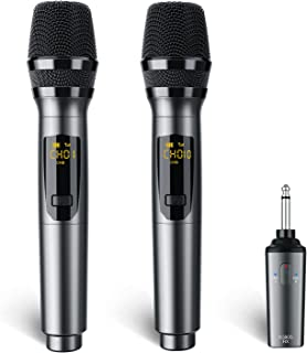 LEKATO K380S UHF Rechargeable Wireless Microphone Professional Karaoke Microphone Dual Handheld with Receiver System Set, ...