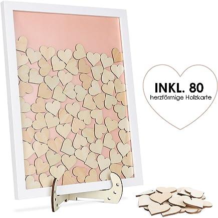 Holz Wunschbaum Gästebuch 100x Herz Zum beschriften Holzkarte Kartenmachen