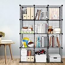 12 Cube Wire Storage Cubes Cabinet Modular Display Shelving Unit Stackable Interlocking Wire Shelves DIY Metal Grid Closet...