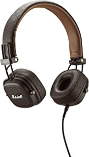 Marshall Major II Headphones, Collapsible Wired On-Ear Headphones, with Detachable Built-in Microphone and Remote Cord, Brown