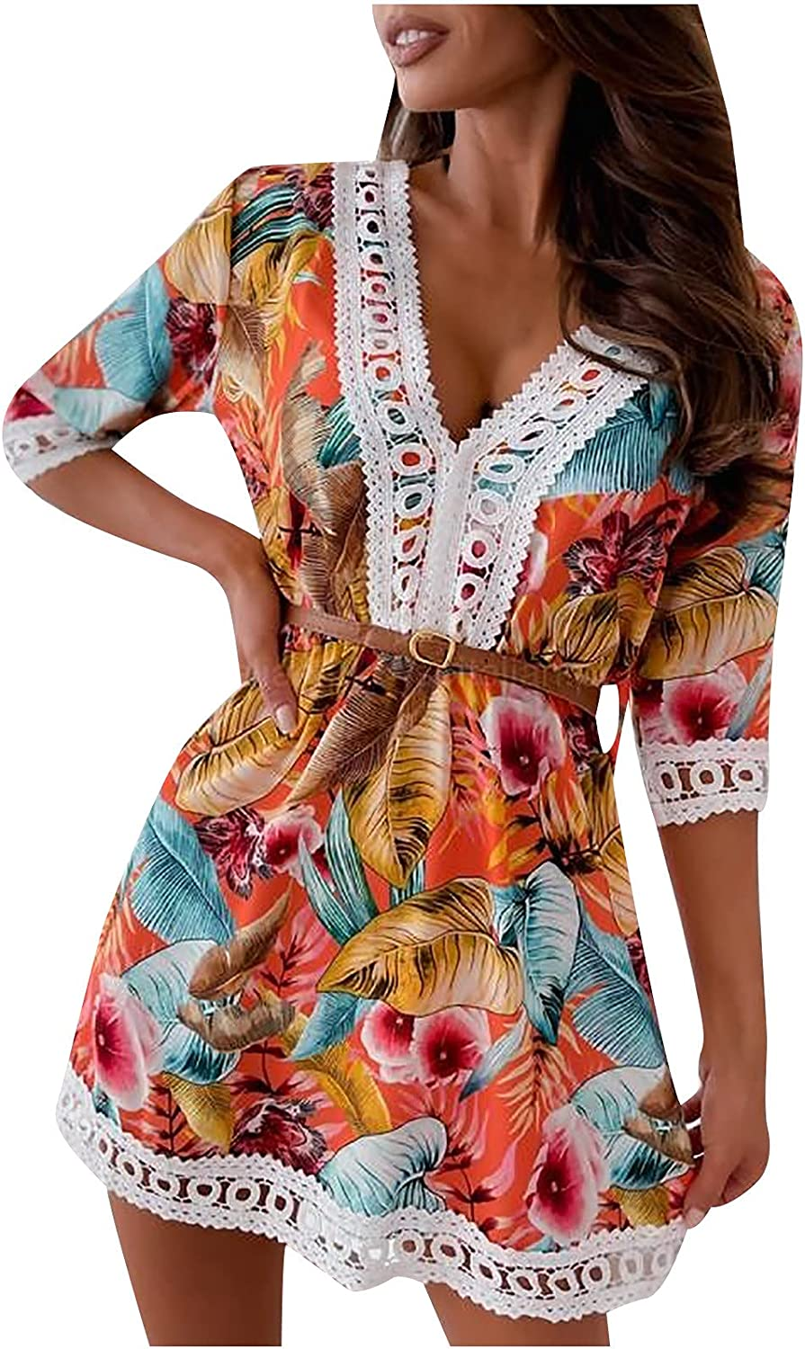 Women's Vintage Printed Long-awaited Lace Max 60% OFF Midi Dress Neck Sexy Half V Sleeve