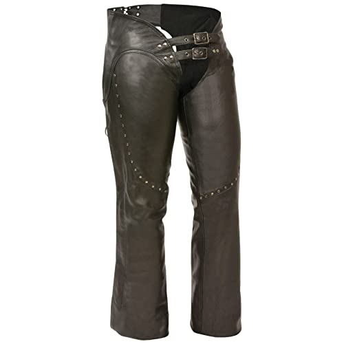 Milwaukee ML1186-XL-BLACK Women s Low Rise Double Buckle Leather Chaps e63fc7992