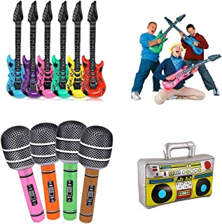 Koogel Inflatable Rock Star Toy Set, 6pcs 36'' Electric Guitar,4pcs 31'' Microphones,1pcs 17'' Inflatable Boom Box Radio for Party Decorations.