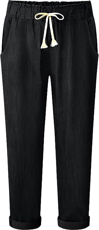 FEOYA Women's Casual Loose Pants Elastic Waist Adjustable Drawstring Pants