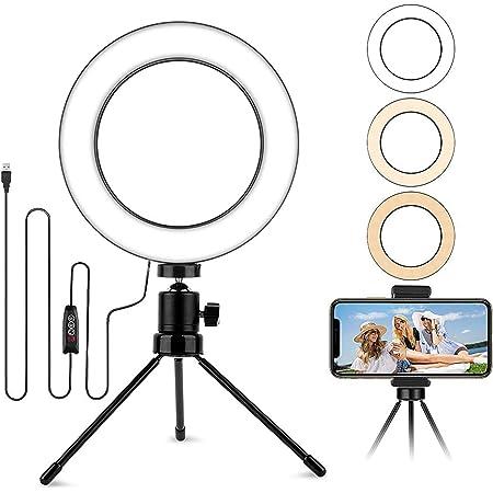 6 2 Selfie Led Ringlicht Mit Stativ Klein Tisch Kamera