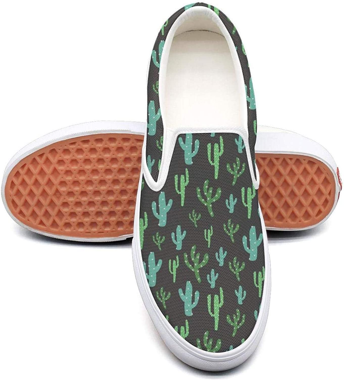 Desert Barell Cactus Prints Slip On Canvas Upper Loafers Canvas shoes for Women Fashion