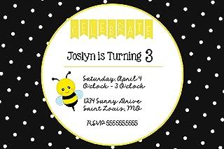 The Melange Market Custom - Polka Dots & Bumble Bee Birthday Party Invitation