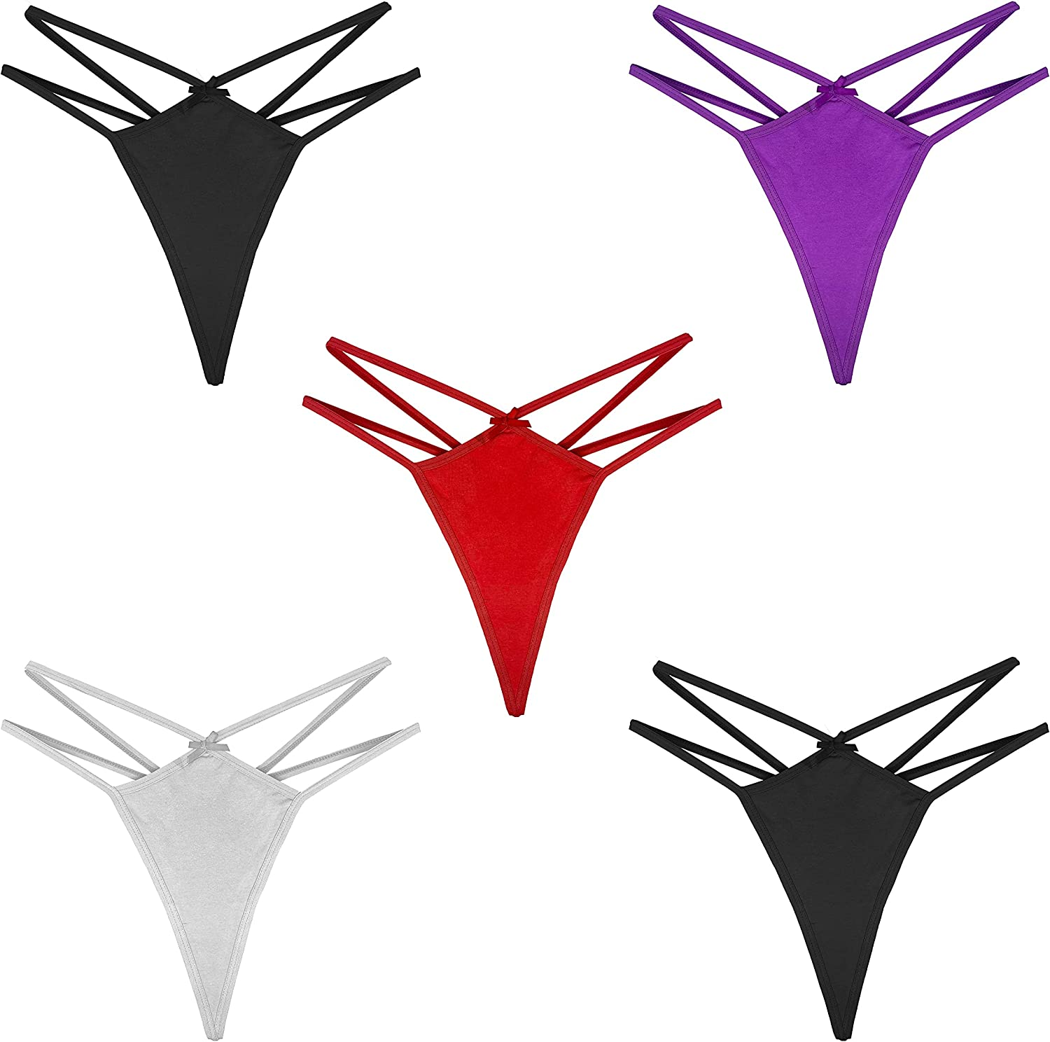 Umiehary Women's Breathable Fashion Low Rise T Back Sexy Cotton Thongs with Mulitple Color and Patterns