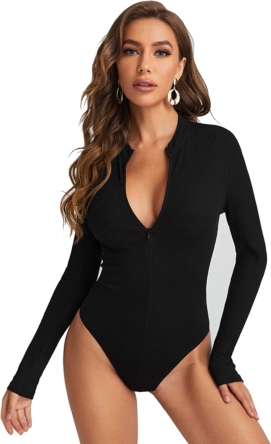 SheIn Women's Casual Notched Neck Long Sleeve Zip Up Rib Knit Bodysuit Tops