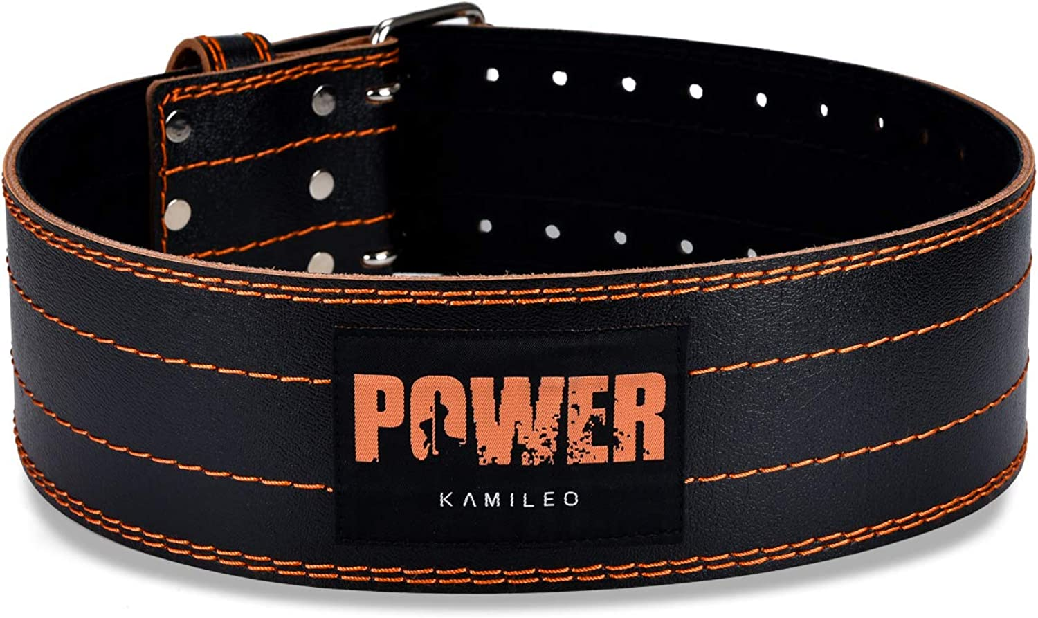 (X-Large) - Kamileo Lifting Belt, Weight Lifting Leather Belt Prong Buckle Men Women, Stabilising Lower Back Support Powerlifting Squat Deadlifting