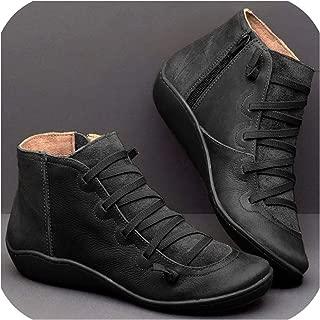 Women Ankle Boots Genuine Leather Women Autumn Winter Cross Strappy Vintage Women