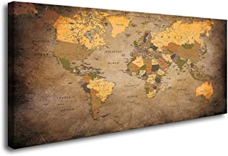 Baisuwallart- 1 Piece Vintage World Map Canvas Wall Art- Ready to Hang - Home Office Decor Picture Prints for Living Room Bedroom Abstract Painting Artwork 24x48inches x1pcs