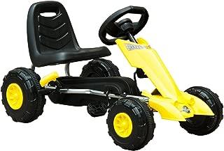 HOMCOM Go Kart Coche de Pedales Deportivo de Acero con Frenos para Niños de 3-5 Años 88x51x48cm Color Negro y Amarillo