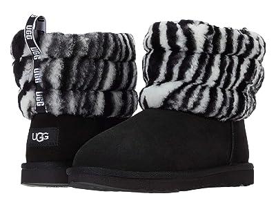 UGG Kids Fluff Mini Quilted Zebra (Little Kid/Big Kid) (Black/White) Girls Shoes