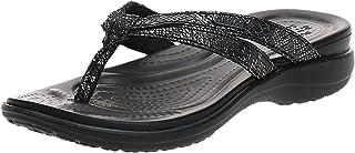 Crocs womens Crocs Women's Capri Strappy   Casual Comfortable Sandals for Women Flip Flop, Metallic Black, 8 US