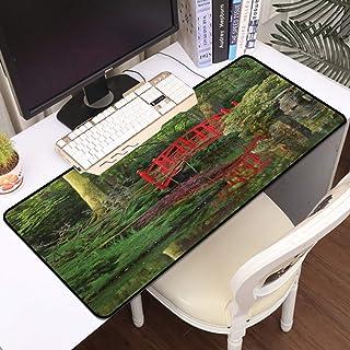 Luoquan Alfombrilla Raton Grande Gaming Mouse Pad,Puente Chino Rojo del Lago en un Bosque de Hojas de árboles Verdes Refle...