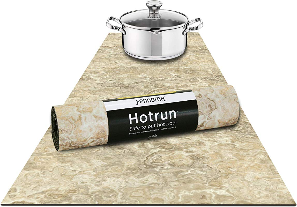 Fennoma Hotrun 2 In 1 Trivet And Decorative Table Runner Handles Heat Up To 356F Anti Slip Waterproof And Convenient For Hot Dishes And Pots Natural Marble