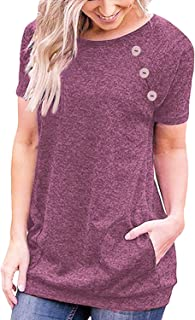 Ruiyige Women's Casual Plain Short Sleeve Long Tunics Tops Blouses Tshirts with Pockets Tall Women