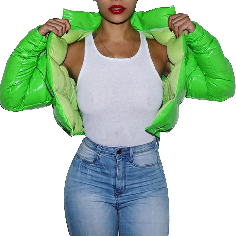 Arssm Women's Y2K Winter Zip Up Quilted Puffer Jacket Long Sleeve Warm Crop Bubble Coats