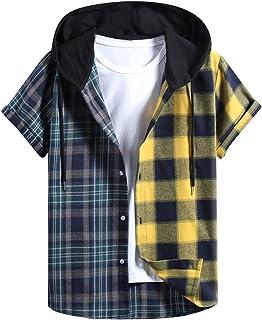 Camisetas de Manga Corta de Primavera Y Verano para Hombre Sudaderas con Capucha Tops A Cuadros Camisas Estampadas Camiset...